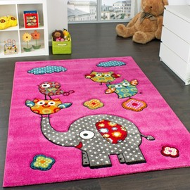 tapis chambre d 39 enfant adorable monde animal el phant amis rose bleu gris rouge 80x150 cm. Black Bedroom Furniture Sets. Home Design Ideas