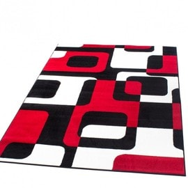 tapis de cr ateur de style r tro en rouge noir blanc super. Black Bedroom Furniture Sets. Home Design Ideas