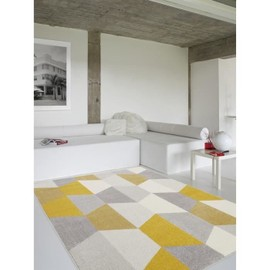 tapis de salon madrid style scandinave 160x230 cm gris et jaune. Black Bedroom Furniture Sets. Home Design Ideas