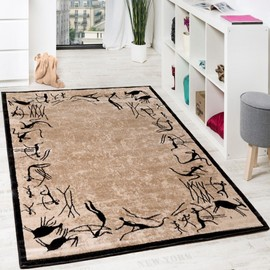 tapis de salon motif afrique tapis de marque poils ras moderne beige noir 190x280 cm. Black Bedroom Furniture Sets. Home Design Ideas