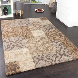 tapis design de qualit carreaux baroque motif m l en marron clair beige gris 80x150 cm. Black Bedroom Furniture Sets. Home Design Ideas