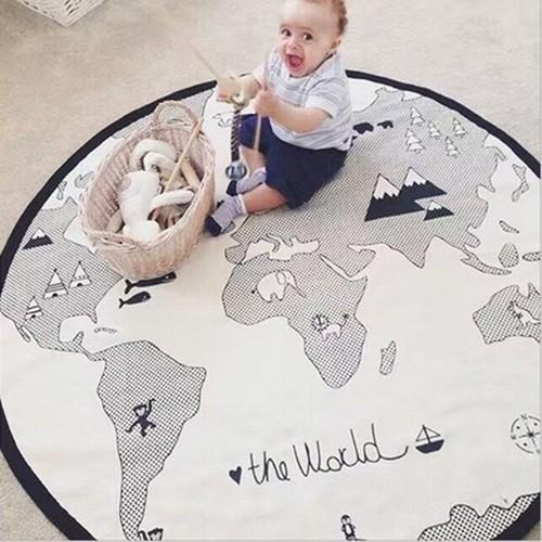 tapis veil tapis de jeu pour b b tapis rond en coton doux carte du monde d coration de salle. Black Bedroom Furniture Sets. Home Design Ideas