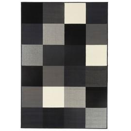 Tapis Salon Design Carrés Noir Blanc Gris Debonsol   120x170cm