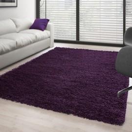 Tapis De Salon Shaggy Pile Longue Couleur Unique Violet - 200x290 Cm