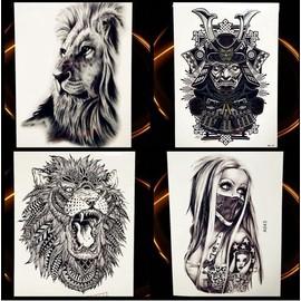 Tatouage Ephemere Temporaire Lion Tigre Guerrier Loup Tatoo Noir Et