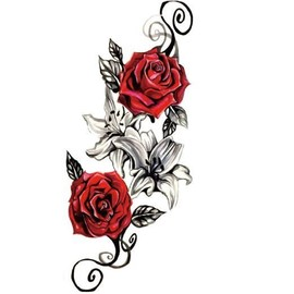 Tatouage Ephemere Temporaire Rose Rouge Tatoo Epaule Cuisse Mode Femmes