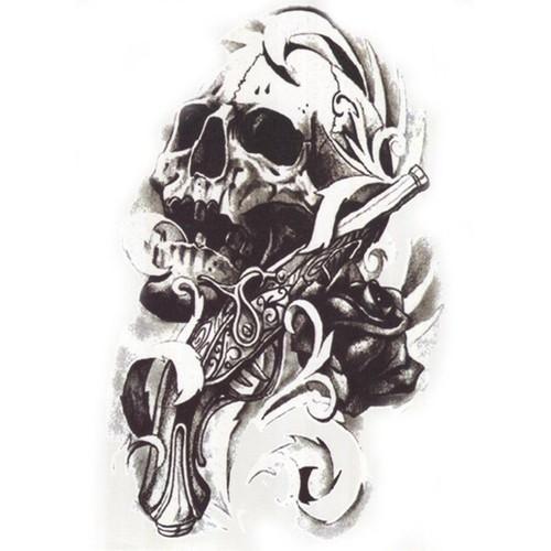 Tatouage temporaire bras tete de mort tatouage ph m re - Tatouage tete de mort simple ...