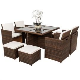 Tectake Salon De Jardin Manhattan - 4 Chaises 4 Tabourets 1 Table En ...