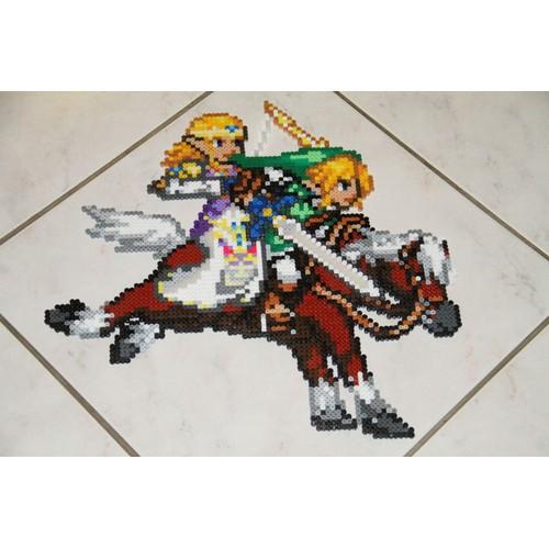 the legend of zelda twilight princess perles hama link et zelda sur epona pour le combat final - Link Et Zelda