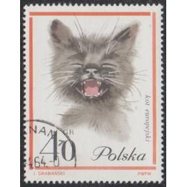 Timbre De Pologne N�1333 Y&t 40 Gr Orange, Gris Et Rose Chats Divers Valeur Et Polska En Noir Chat Gris