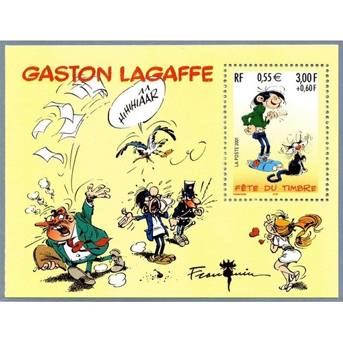 Timbre Fete Du 2001 Bloc Feuillet Gaston Lagaffe 1 1220719154 L