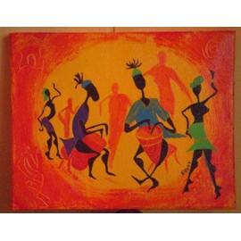 offer buy  toile en coton peinture acrylique theme groupe de percussionnistes africain et fait mains recemment