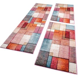 tour de lit tapis de couloir moderne turquoise gris rose rouge orange 3 pi ces 2x 60x100 1x. Black Bedroom Furniture Sets. Home Design Ideas