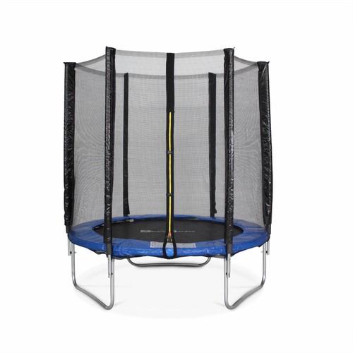 trampoline rond cassiop e 180cm bleu avec son filet de protection trampoline de jardin 2m. Black Bedroom Furniture Sets. Home Design Ideas