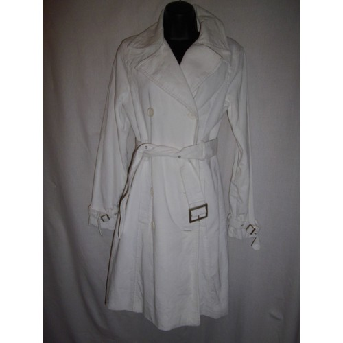 trench veste redingote manteau blanc c tel grand col chic ceinture s 36. Black Bedroom Furniture Sets. Home Design Ideas