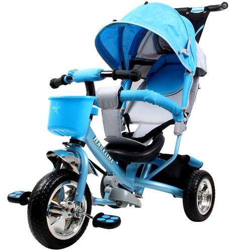 tricycle pour enfants raceline en m tal avec barre pousser et toit bleu. Black Bedroom Furniture Sets. Home Design Ideas