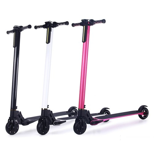 trottinette lectrique deux roues en fibre de carbone kick scooter pliable avec led batterie li. Black Bedroom Furniture Sets. Home Design Ideas