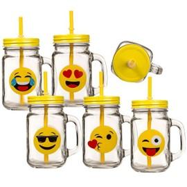 Une Tasse Vintage Emoji Mug Verre Motif émoticône Couvercle Paille Bisou