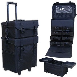 valise trolley maquillage professionnel multi rangement tissu noir matelass. Black Bedroom Furniture Sets. Home Design Ideas