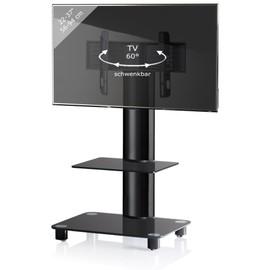 Vcm support tv stand bilano avec tag re en verre - Table tv verre roulettes ...