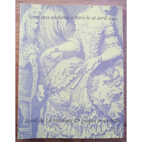 vente aux ench res restif de la bretonne de artcurial format catalogue d 39 exposition. Black Bedroom Furniture Sets. Home Design Ideas