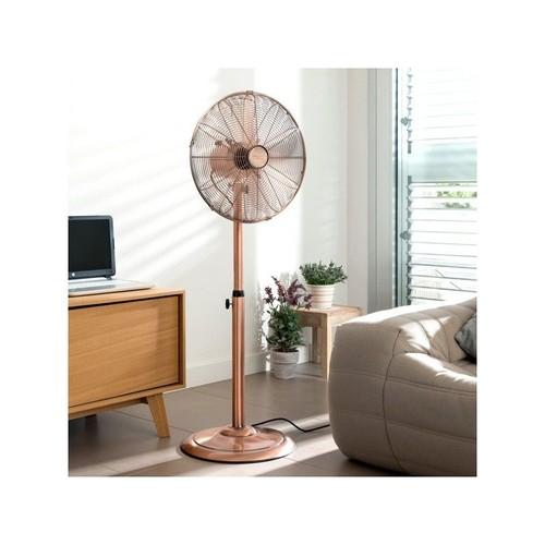 ventilateur sur pied diam 40cm finition cuivre pas cher. Black Bedroom Furniture Sets. Home Design Ideas