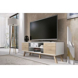 vero bois meuble tv blanc mat ch ne sonoma clair achat et vente. Black Bedroom Furniture Sets. Home Design Ideas
