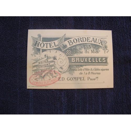 Vers 1900 Carte De Visite Hotel Bordeaux Bruxelles Belgique