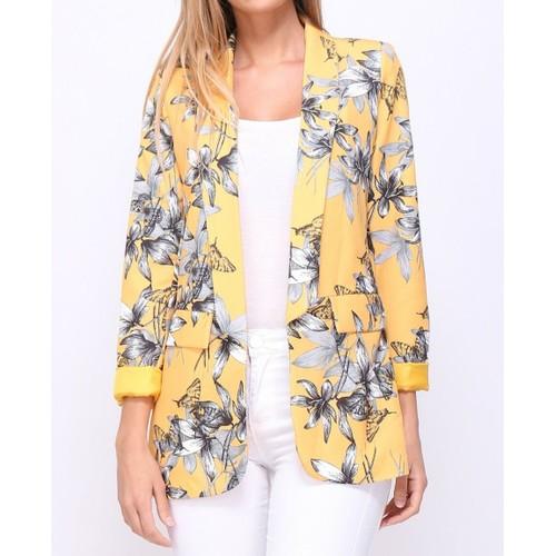 veste blazer femmes imprim jaune fleuri taille m. Black Bedroom Furniture Sets. Home Design Ideas