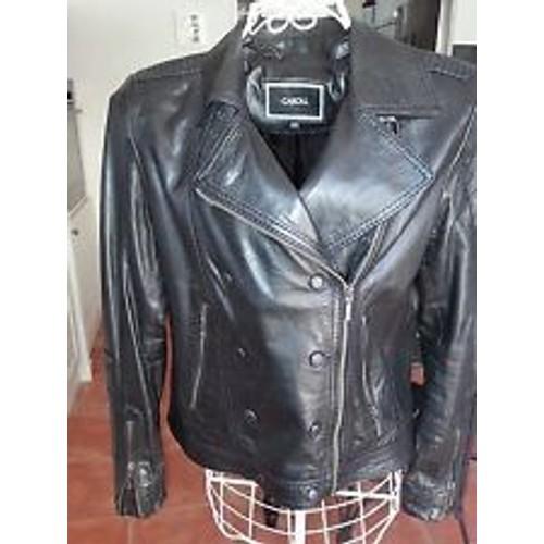 Veste En Cuir Noir - Caroll - Achat vente de Prêt à porter - Rakuten ea491a04523
