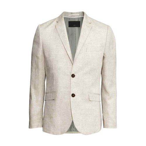 veste ete blazer slim homme h m beige 100 lin taille 48 taille m. Black Bedroom Furniture Sets. Home Design Ideas