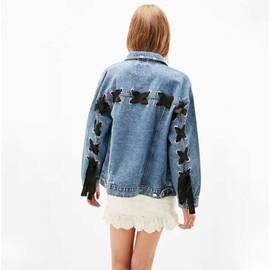 Jacket Fille Manteau Haut Jeans Femme Déchiré Emo Broderie Veste qfUH7wtnt