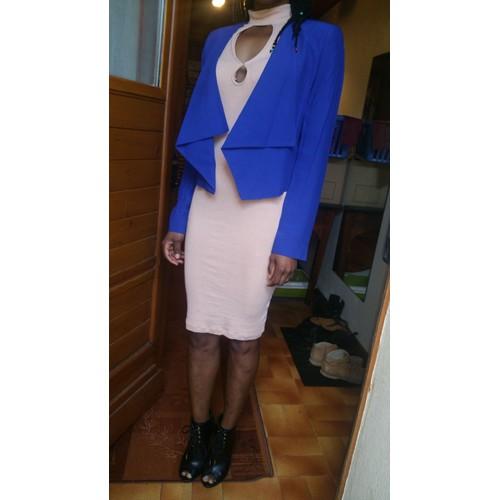 veste mango jupe crayon taille haute pantalon cropped et veste asiatique femme elasthanne 34 bleu. Black Bedroom Furniture Sets. Home Design Ideas