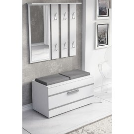 vestiaire d entr e opal blanc mat achat et vente. Black Bedroom Furniture Sets. Home Design Ideas