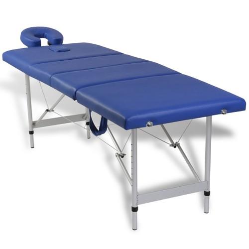 vidaxl table de massage pliante 4 zones bleu cadre en aluminium. Black Bedroom Furniture Sets. Home Design Ideas