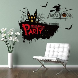 Vinyle amovible mur autocollant 3D Halloween Horror Stickers Witch Sticker  mural 2433