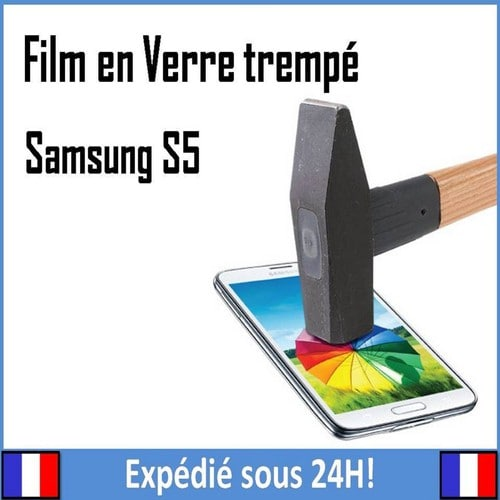 vitre film de protection en verre tremp cran incassable pour samsung galaxy s5. Black Bedroom Furniture Sets. Home Design Ideas