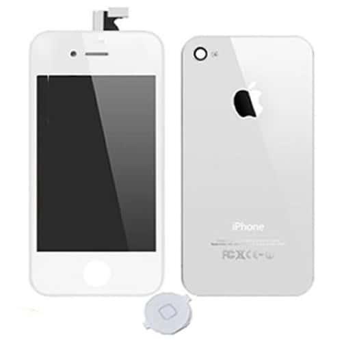 vitre tactile cran lcd bouton home blanc pour iphone 4 pas cher. Black Bedroom Furniture Sets. Home Design Ideas