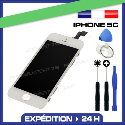 vitre tactile cran lcd sur chassis pour iphone 5c blanc outils. Black Bedroom Furniture Sets. Home Design Ideas