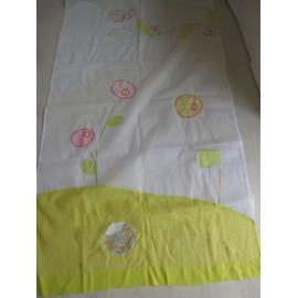 voilage blanc motifs brod s vert p le rose papillon. Black Bedroom Furniture Sets. Home Design Ideas