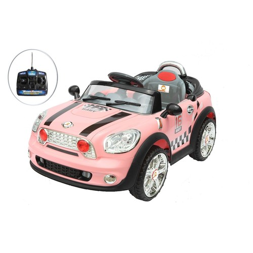 voiture lectrique avec t l commande 6v mini cooper rose pour enfant. Black Bedroom Furniture Sets. Home Design Ideas
