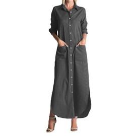Botón Abertura Larga Vonda Blusa Bolsillos Vestido Mujer Lateral hrCBtxQsdo