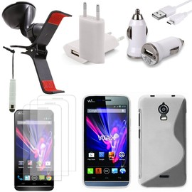 Wiko Wax Lot Etui Housse Coque Pochette Accessoires Support Chargeur Voiture Films Stylet Silicone Gel