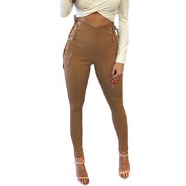 3822d1a56ded7 Zanzea Femmes Pantalon Taille Haute Côté Coup Patins Stretch Slim Montés